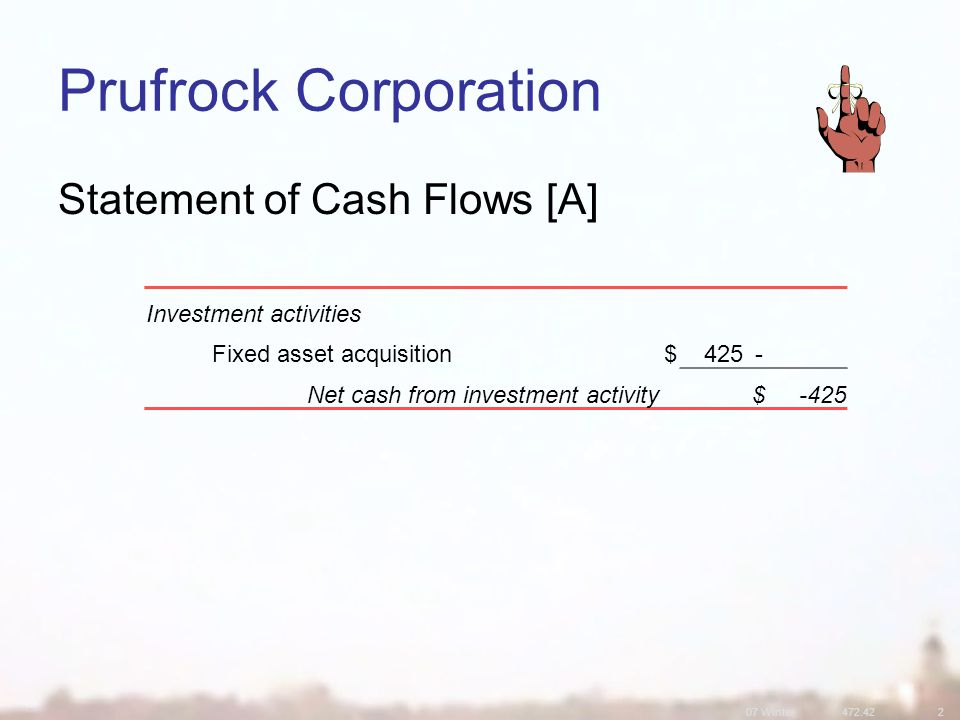 07 Winter Prufrock Corporation Statement of Cash Flows [A] Investment activities Fixed asset acquisition$425- Net cash from investment activity$-425