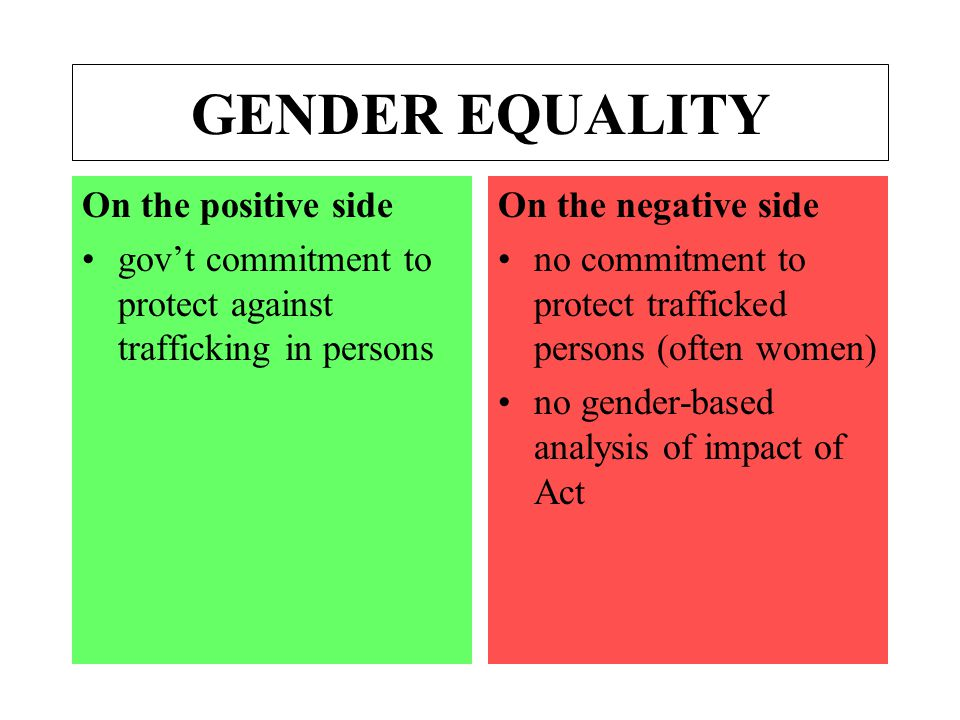 GENDER EQUALITY On the positive side gov't commitment to protect against trafficking in persons On the negative side no commitment to protect trafficked persons (often women) no gender-based analysis of impact of Act