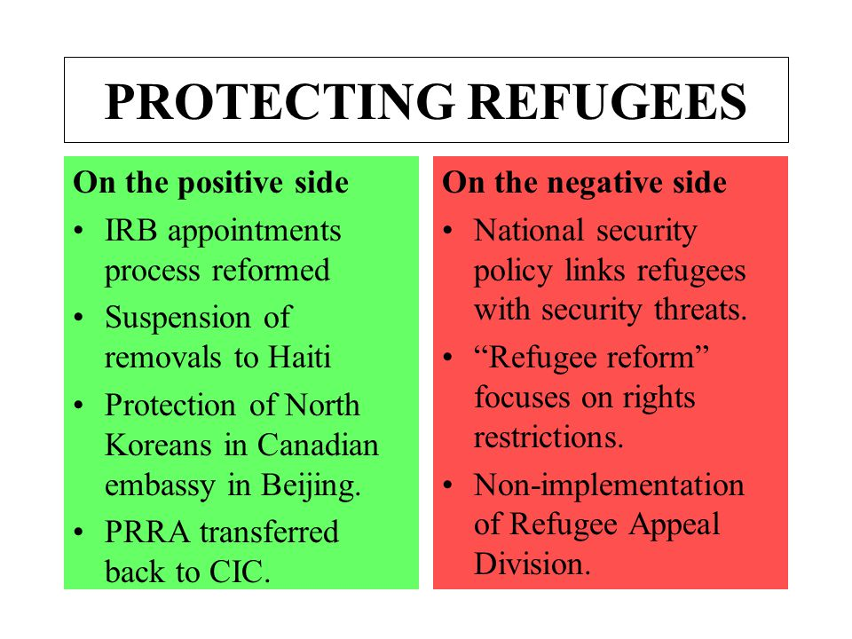 PROTECTING REFUGEES On the positive side IRB appointments process reformed Suspension of removals to Haiti Protection of North Koreans in Canadian embassy in Beijing.