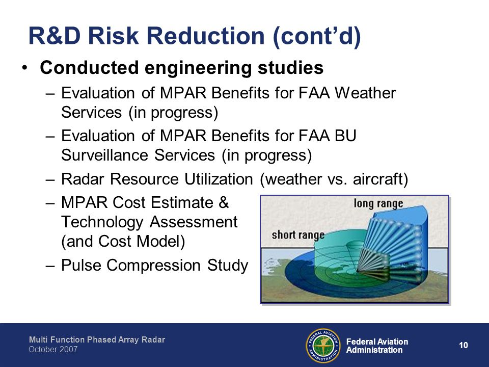 Multi Function Phased Array Radar 10 Federal Aviation Administration October 2007 R&D Risk Reduction (cont'd) Conducted engineering studies –Evaluation of MPAR Benefits for FAA Weather Services (in progress) –Evaluation of MPAR Benefits for FAA BU Surveillance Services (in progress) –Radar Resource Utilization (weather vs.