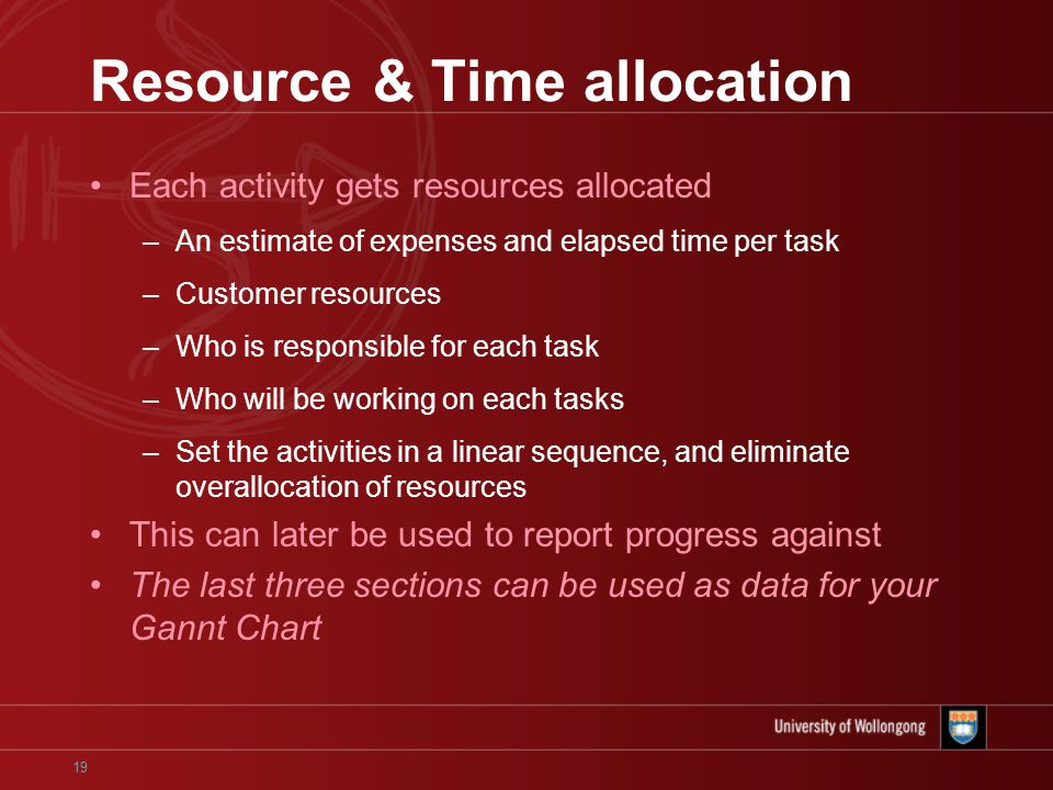 19 Resource & Time allocation Each activity gets resources allocated –An estimate of expenses and elapsed time per task –Customer resources –Who is responsible for each task –Who will be working on each tasks –Set the activities in a linear sequence, and eliminate overallocation of resources This can later be used to report progress against The last three sections can be used as data for your Gannt Chart