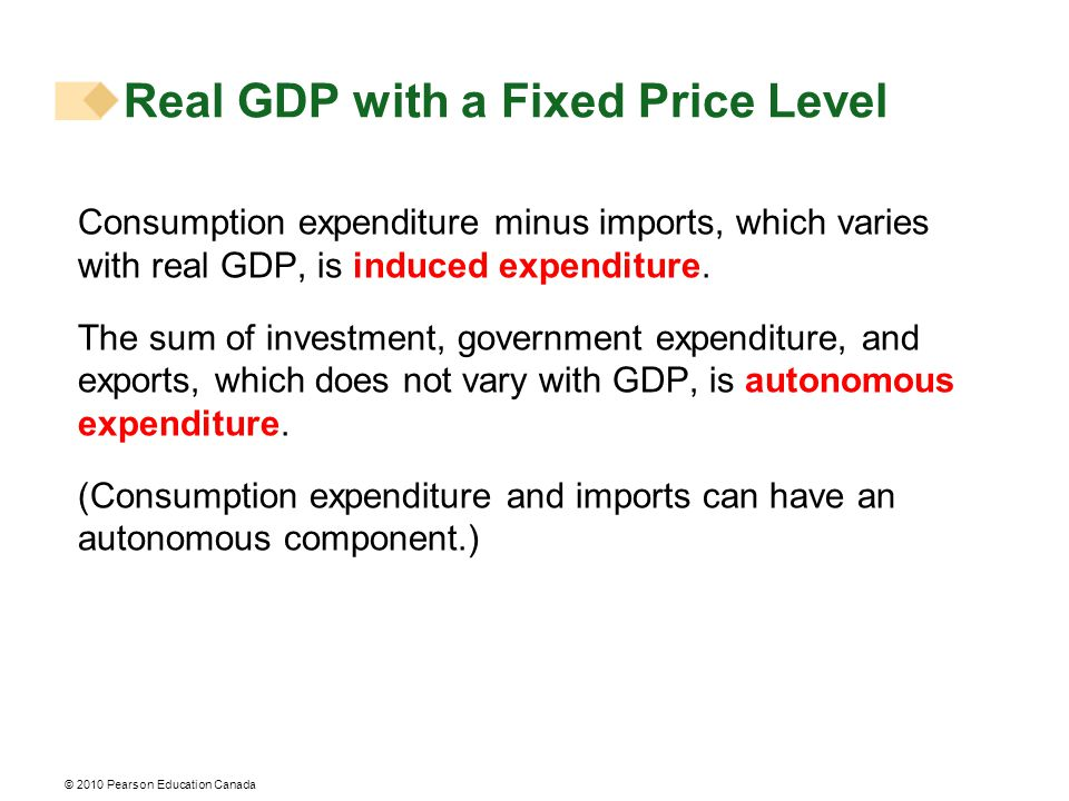 Real GDP with a Fixed Price Level Consumption expenditure minus imports, which varies with real GDP, is induced expenditure.