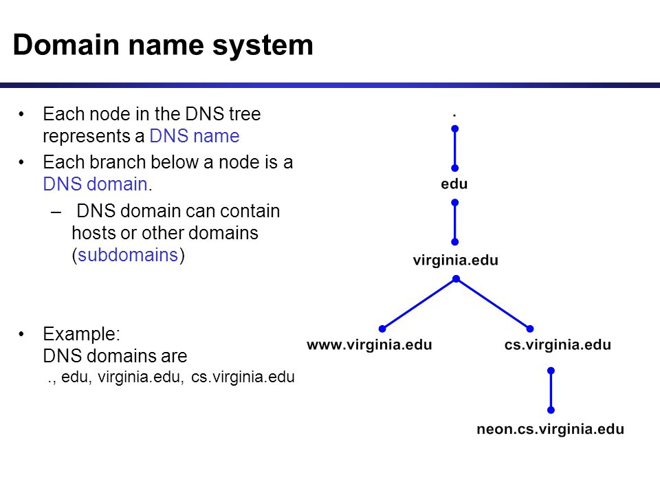 Domain name system Each node in the DNS tree represents a DNS name Each branch below a node is a DNS domain.