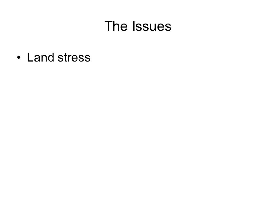The Issues Land stress