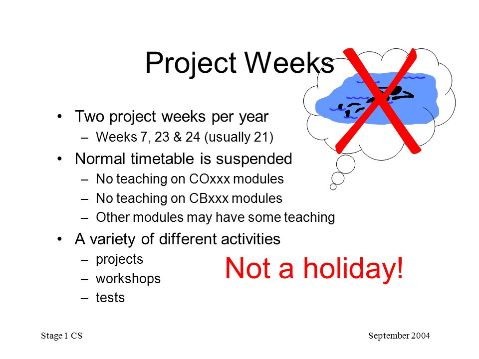 September 2004 Stage 1 CS Project Weeks Two project weeks per year –Weeks 7, 23 & 24 (usually 21) Normal timetable is suspended –No teaching on COxxx modules –No teaching on CBxxx modules –Other modules may have some teaching A variety of different activities –projects –workshops –tests Not a holiday!