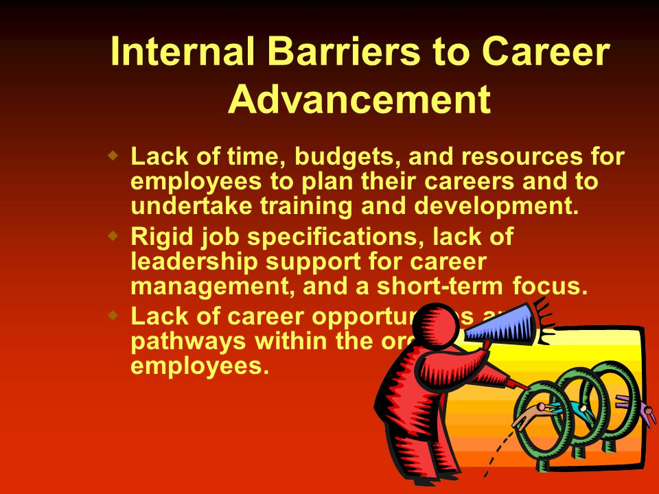 Internal Barriers to Career Advancement  Lack of time, budgets, and resources for employees to plan their careers and to undertake training and development.