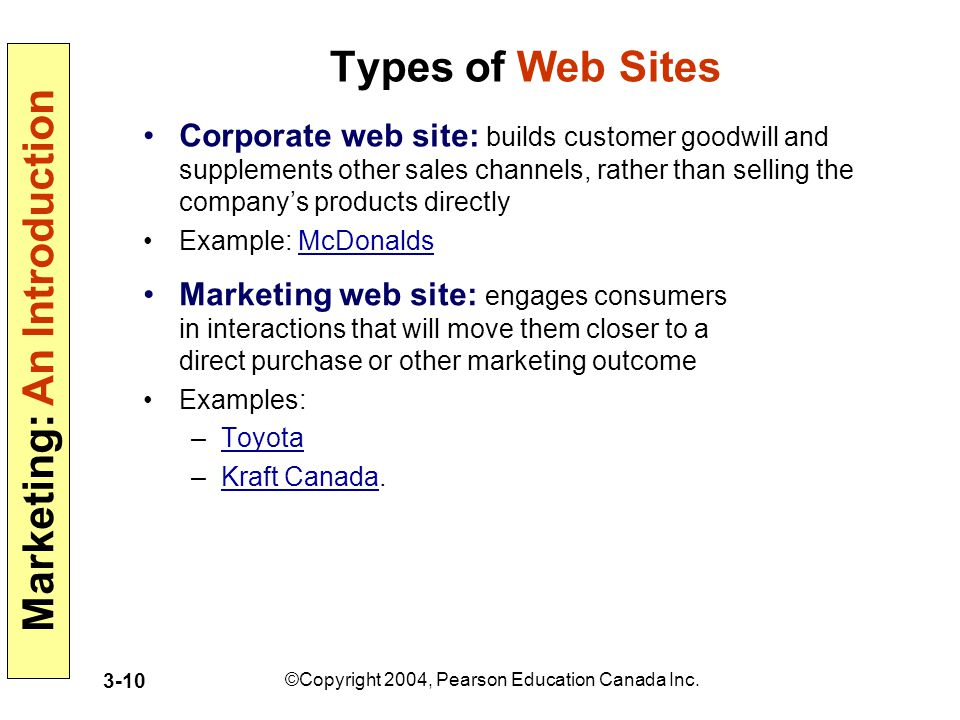 Marketing: An Introduction ©Copyright 2004, Pearson Education Canada Inc. 3-10 Types of Web Sites Corporate web site: builds customer goodwill and sup