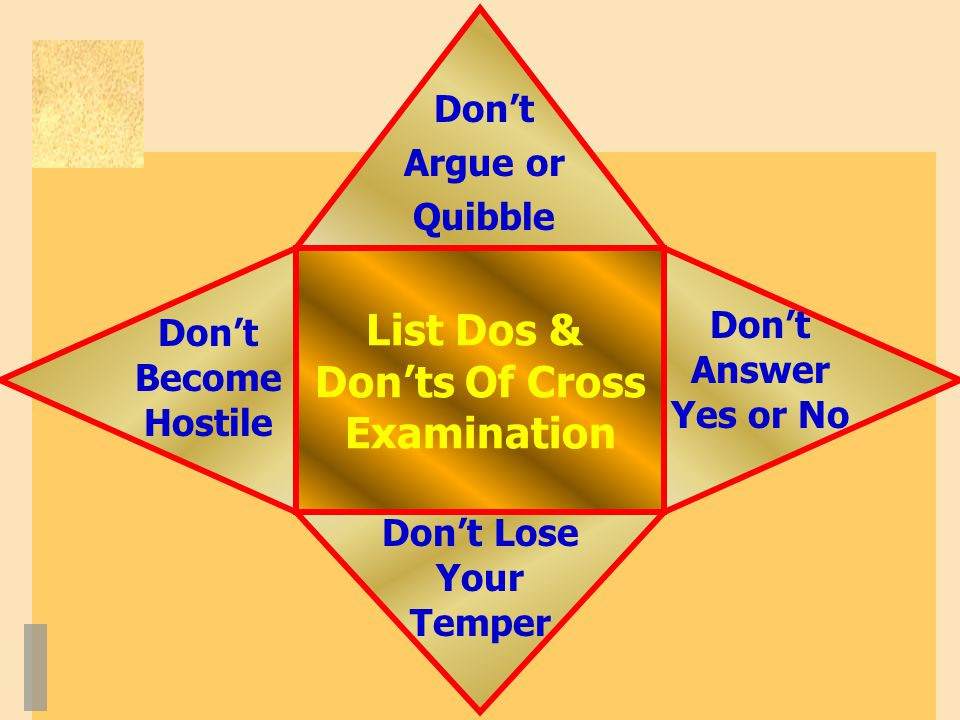 List Dos & Don'ts Of Cross Examination Don't Lose Your Temper Don't Argue or Quibble Don't Become Hostile Don't Answer Yes or No