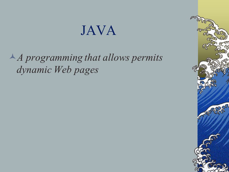 JAVA A programming that allows permits dynamic Web pages
