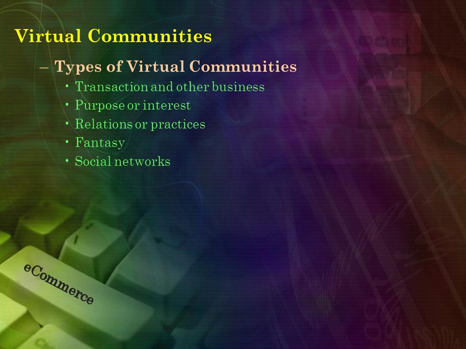 Virtual Communities – Types of Virtual Communities Transaction and other business Purpose or interest Relations or practices Fantasy Social networks