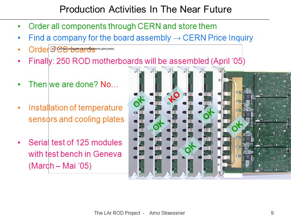 The LAr ROD Project - Arno Straessner9 Production Activities In The Near Future Order all components through CERN and store them Find a company for the board assembly → CERN Price Inquiry Order PCB boards Finally: 250 ROD motherboards will be assembled (April '05) Then we are done.