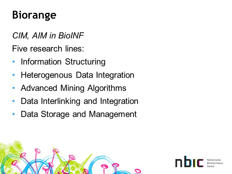 Biorange CIM, AIM in BioINF Five research lines: Information Structuring Heterogenous Data Integration Advanced Mining Algorithms Data Interlinking and Integration Data Storage and Management
