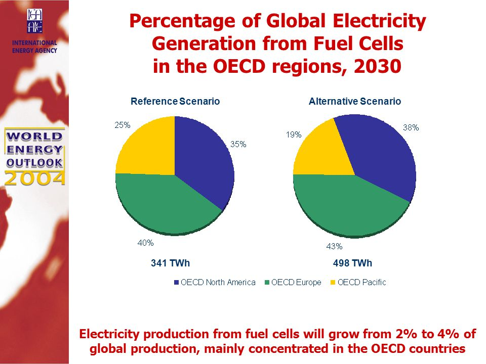 Percentage of Global Electricity Generation from Fuel Cells in the OECD regions, 2030 Electricity production from fuel cells will grow from 2% to 4% of global production, mainly concentrated in the OECD countries Reference ScenarioAlternative Scenario 341 TWh498 TWh
