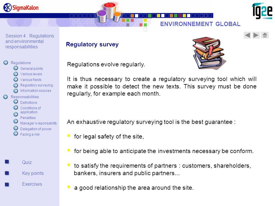 ENVIRONNEMENT GLOBAL Quiz Key points Exercises Regulatory survey Regulations evolve regularly.