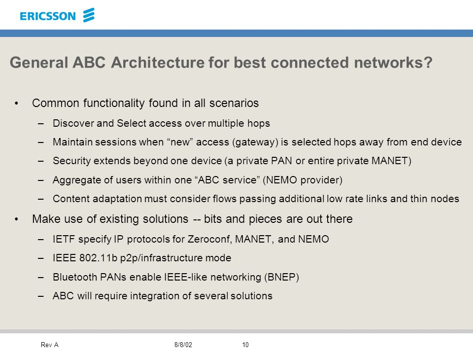 Rev A8/8/0210 General ABC Architecture for best connected networks.