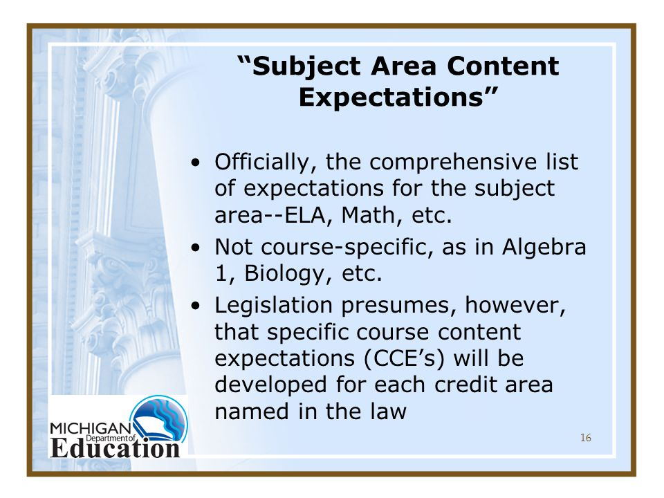 16 Subject Area Content Expectations Officially, the comprehensive list of expectations for the subject area--ELA, Math, etc.