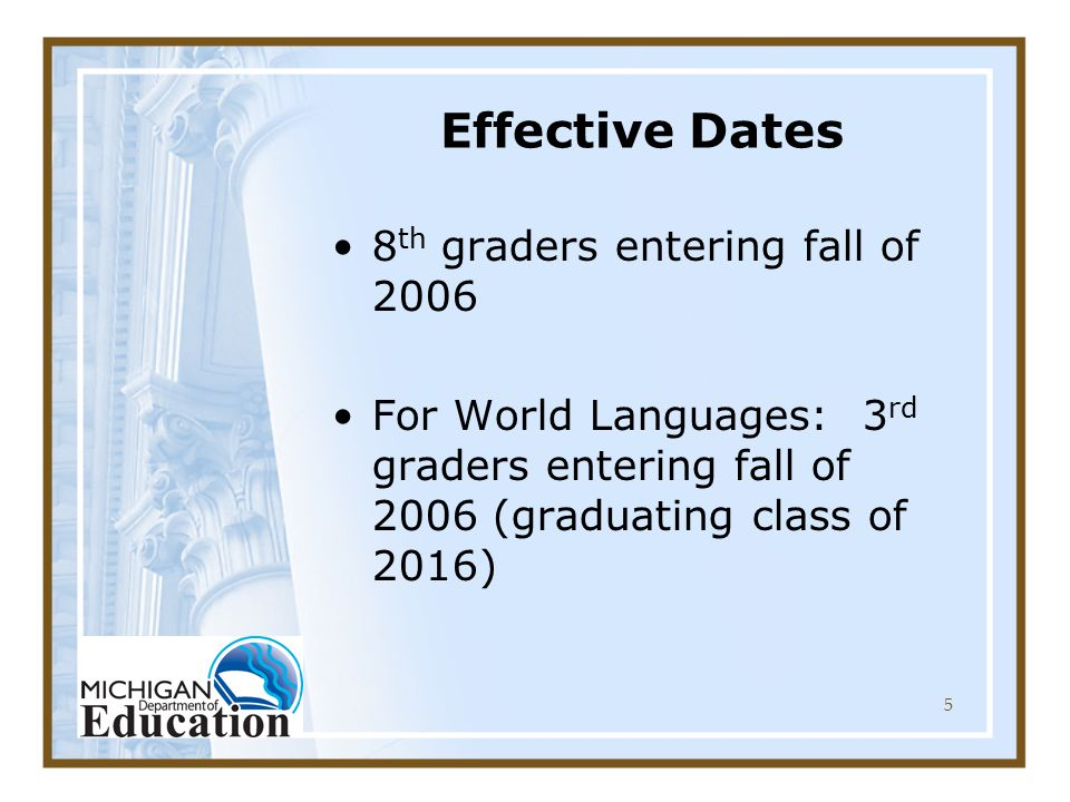 5 Effective Dates 8 th graders entering fall of 2006 For World Languages: 3 rd graders entering fall of 2006 (graduating class of 2016)