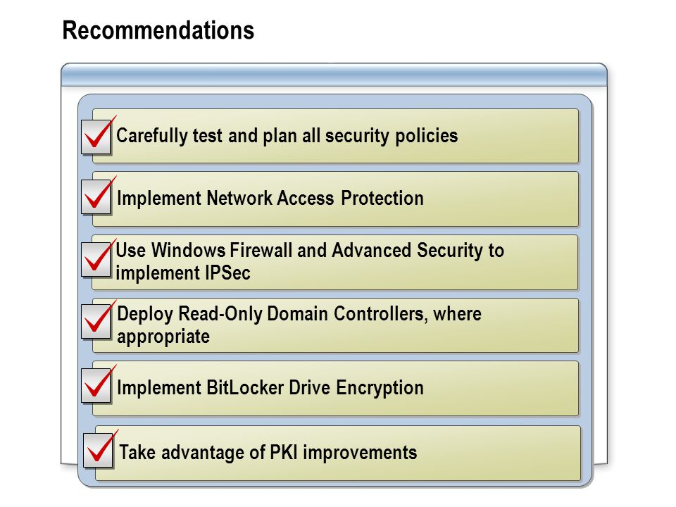 Recommendations Implement Network Access Protection Use Windows Firewall and Advanced Security to implement IPSec Deploy Read-Only Domain Controllers, where appropriate Implement BitLocker Drive Encryption Carefully test and plan all security policies Take advantage of PKI improvements