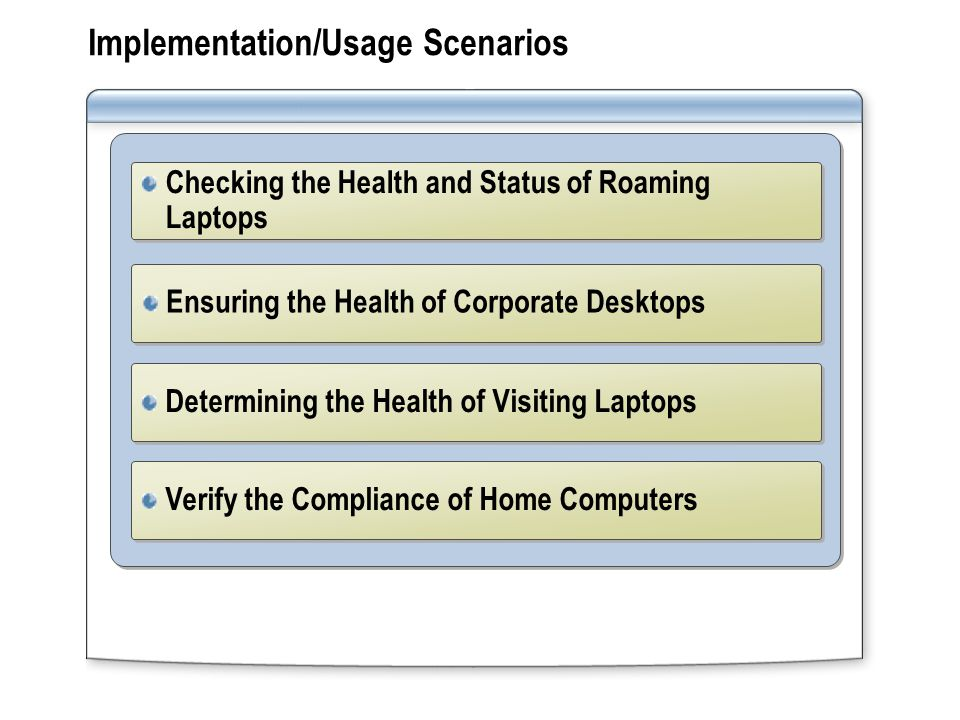 Implementation/Usage Scenarios Ensuring the Health of Corporate Desktops Checking the Health and Status of Roaming Laptops Determining the Health of Visiting Laptops Verify the Compliance of Home Computers