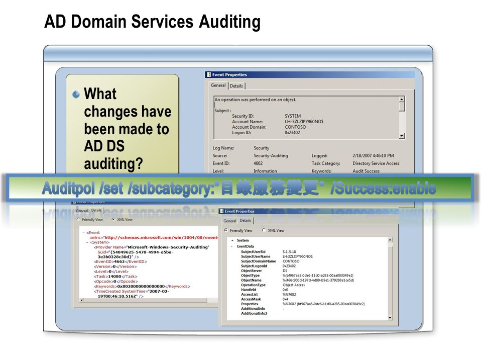 AD Domain Services Auditing What changes have been made to AD DS auditing