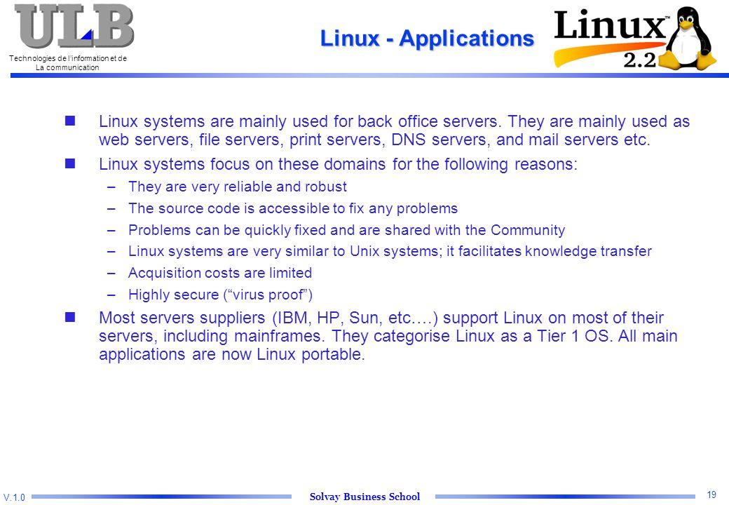 V.1.0 Solvay Business School Technologies de l'information et de La communication 19 Linux - Applications Linux systems are mainly used for back office servers.
