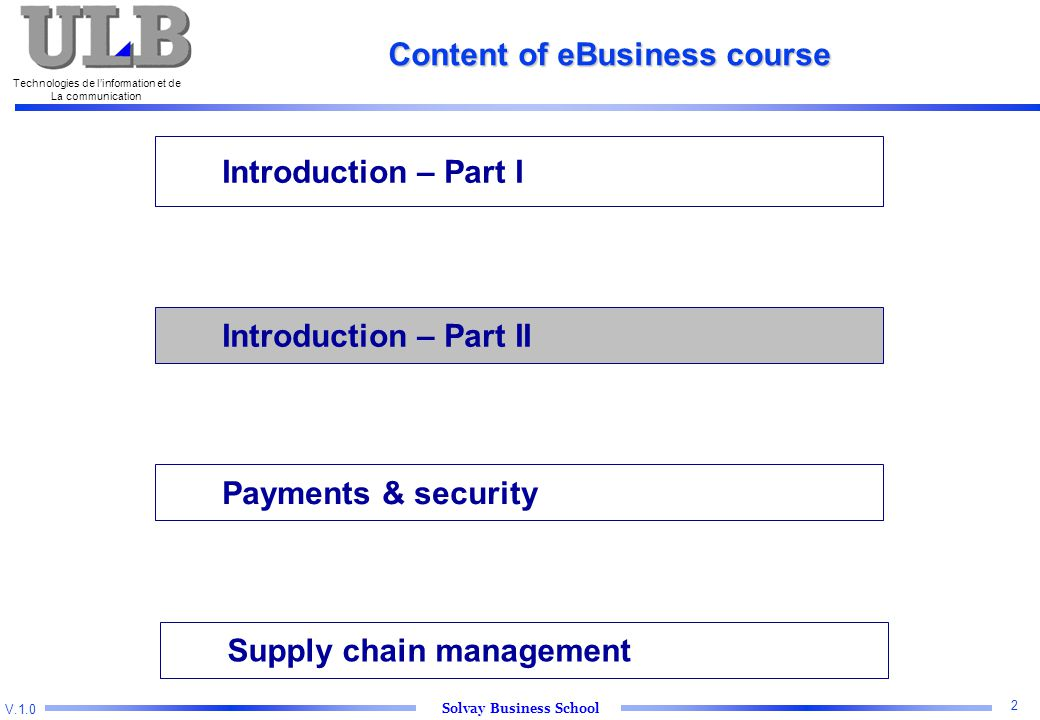 V.1.0 Solvay Business School Technologies de l'information et de La communication 2 Introduction – Part I Introduction – Part II Payments & security Supply chain management Content of eBusiness course
