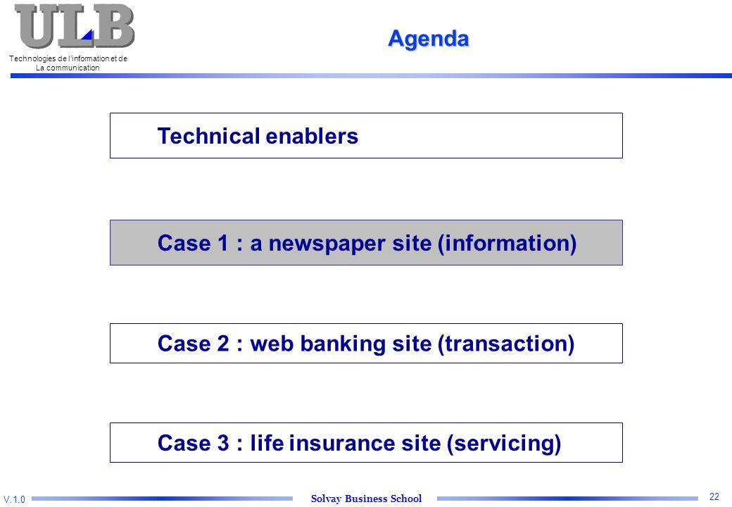 V.1.0 Solvay Business School Technologies de l'information et de La communication 22 Technical enablers Case 2 : web banking site (transaction) Case 3 : life insurance site (servicing) Agenda Case 1 : a newspaper site (information)