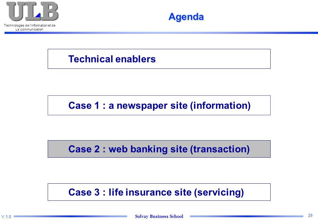 V.1.0 Solvay Business School Technologies de l'information et de La communication 29 Technical enablers Case 2 : web banking site (transaction) Case 3 : life insurance site (servicing) Agenda Case 1 : a newspaper site (information)