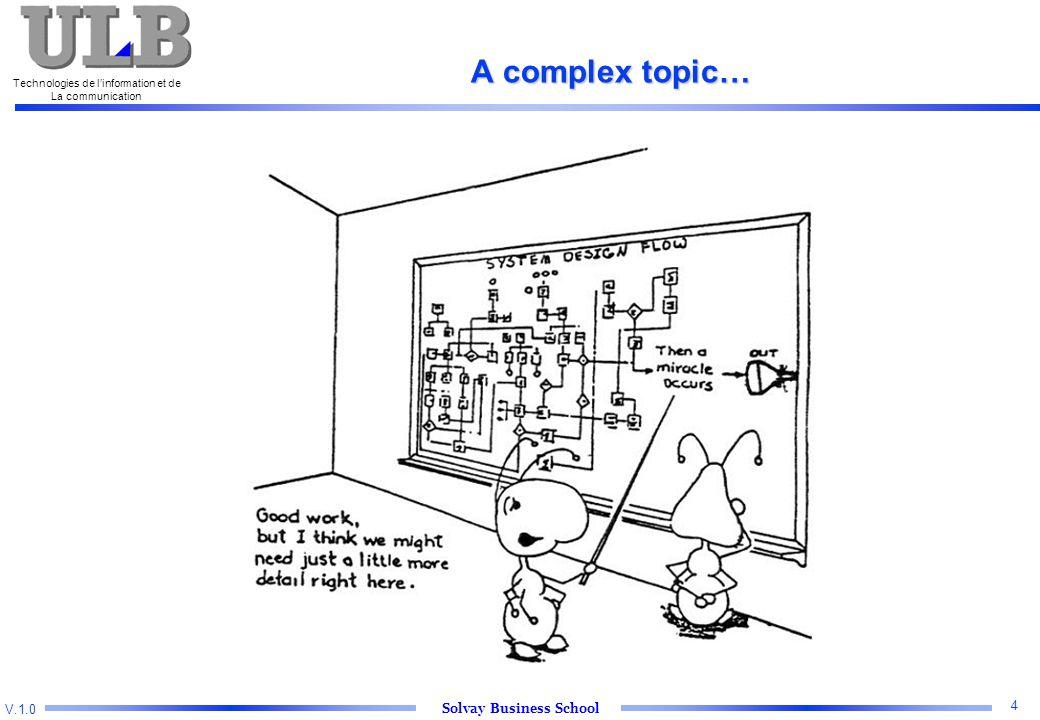 V.1.0 Solvay Business School Technologies de l'information et de La communication 4 A complex topic…