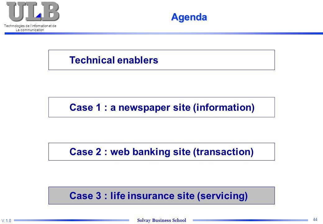 V.1.0 Solvay Business School Technologies de l'information et de La communication 44 Technical enablers Case 2 : web banking site (transaction) Case 3 : life insurance site (servicing) Agenda Case 1 : a newspaper site (information)