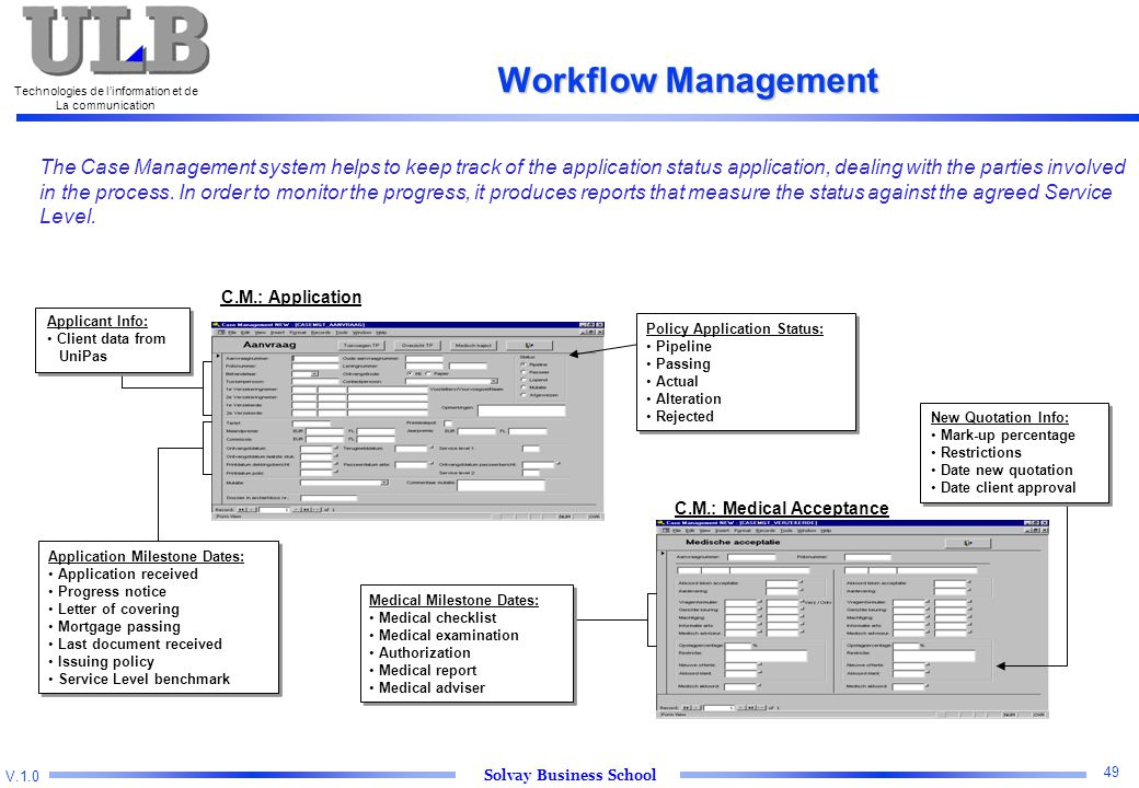 V.1.0 Solvay Business School Technologies de l'information et de La communication 49 Workflow Management The Case Management system helps to keep track of the application status application, dealing with the parties involved in the process.