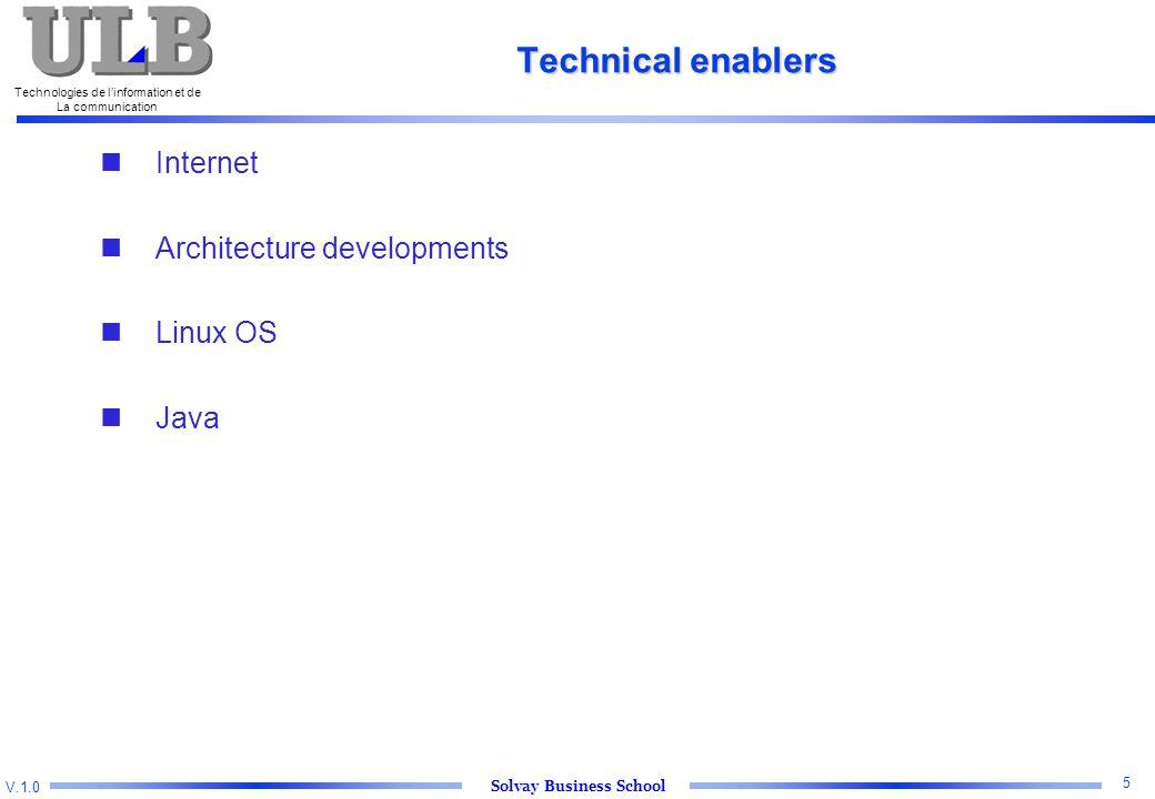V.1.0 Solvay Business School Technologies de l'information et de La communication 5 Technical enablers Internet Architecture developments Linux OS Java