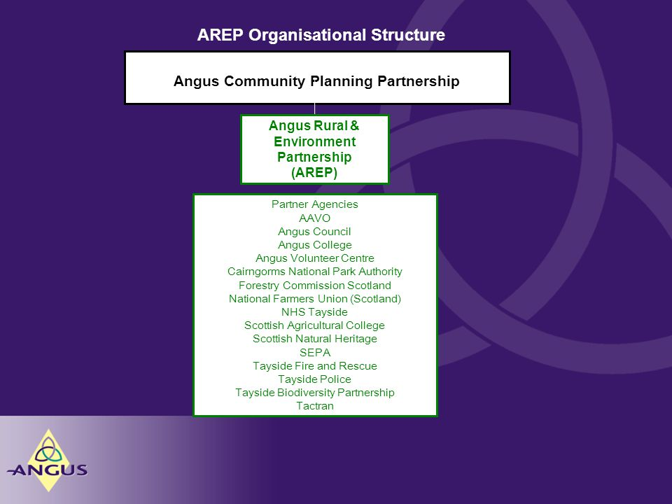 Angus Community Planning Partnership Angus Rural & Environment Partnership (AREP) Partner Agencies AAVO Angus Council Angus College Angus Volunteer Centre Cairngorms National Park Authority Forestry Commission Scotland National Farmers Union (Scotland) NHS Tayside Scottish Agricultural College Scottish Natural Heritage SEPA Tayside Fire and Rescue Tayside Police Tayside Biodiversity Partnership Tactran AREP Organisational Structure
