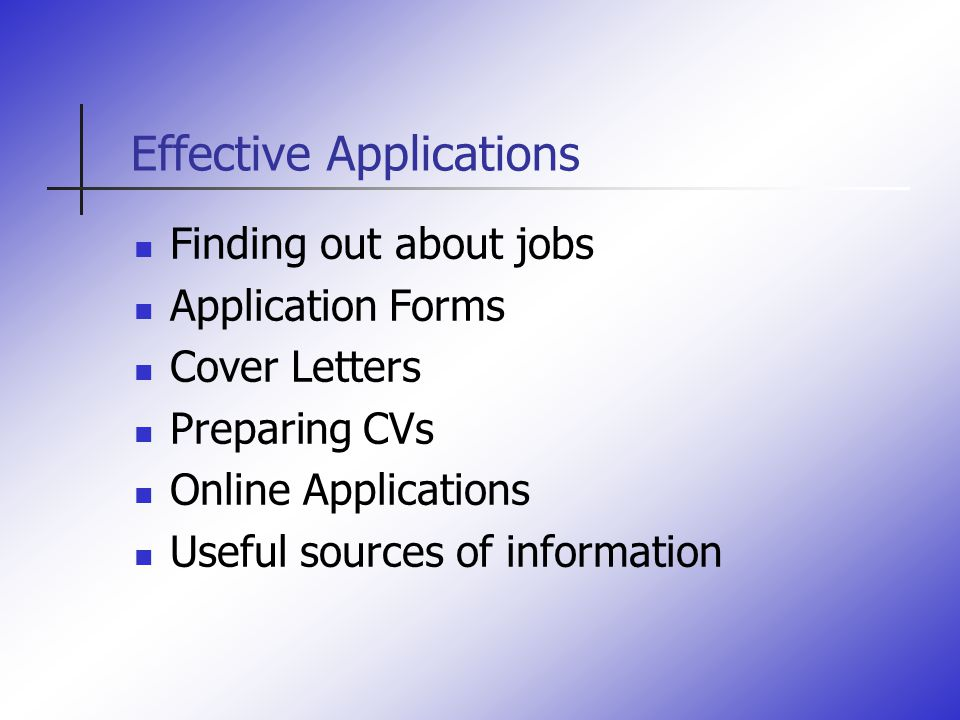 Effective Cvs And Applications. Effective Applications Finding Out