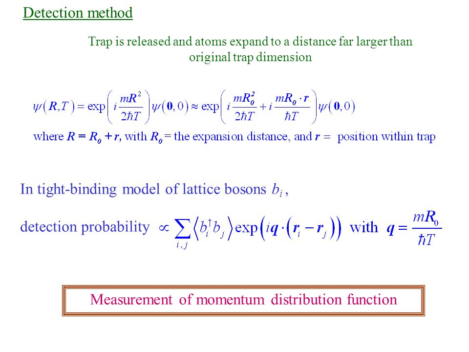 Detection method Trap is released and atoms expand to a distance far larger than original trap dimension In tight-binding model of lattice bosons b i, detection probability Measurement of momentum distribution function