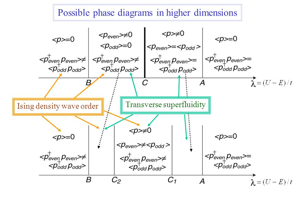 Ising density wave order Transverse superfluidity Possible phase diagrams in higher dimensions