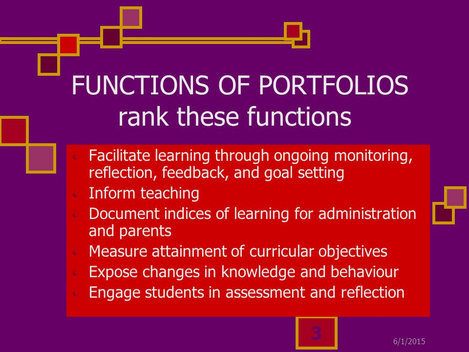 6/1/ FUNCTIONS OF PORTFOLIOS rank these functions  Facilitate learning through ongoing monitoring, reflection, feedback, and goal setting  Inform teaching  Document indices of learning for administration and parents  Measure attainment of curricular objectives  Expose changes in knowledge and behaviour  Engage students in assessment and reflection