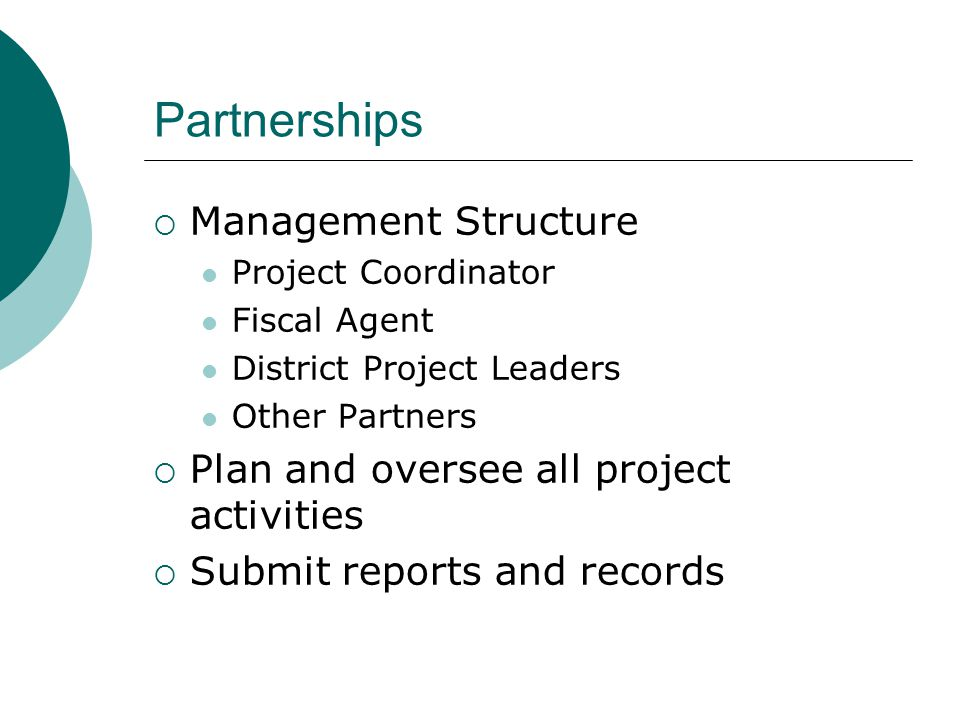 Partnerships  Management Structure Project Coordinator Fiscal Agent District Project Leaders Other Partners  Plan and oversee all project activities  Submit reports and records