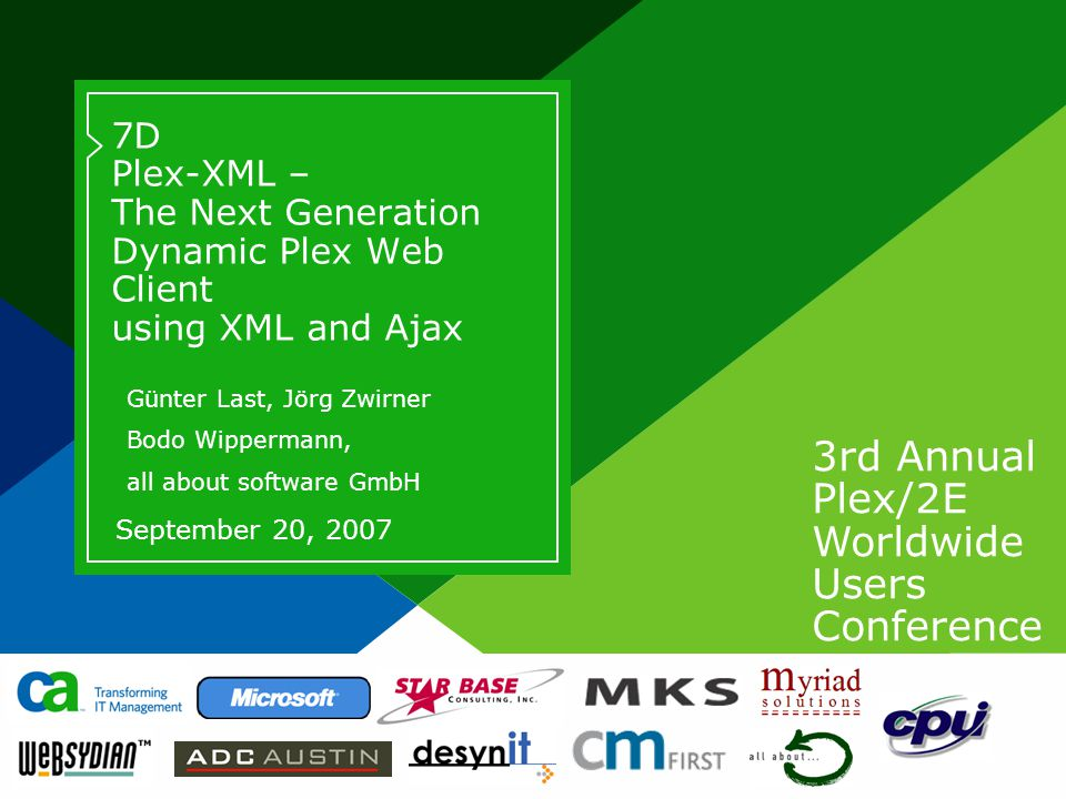 3rd Annual Plex/2E Worldwide Users Conference Page based on Title Slide from Slide Layout palette.