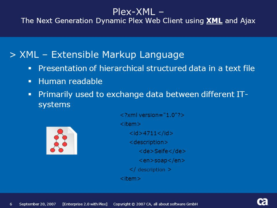 6September 20, 2007 [Enterprise 2.0 with Plex] Copyright © 2007 CA, all about software GmbH Plex-XML – The Next Generation Dynamic Plex Web Client using XML and Ajax >XML – Extensible Markup Language  Presentation of hierarchical structured data in a text file  Human readable  Primarily used to exchange data between different IT- systems 4711 Seife soap Subtitles are Part of Title Field, then Modified Manually (see next page) Page based on Title and Text from Slide Layout palette.