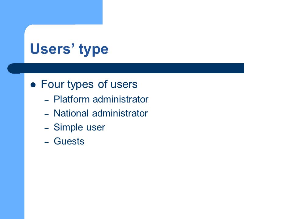 Users' type Four types of users – Platform administrator – National administrator – Simple user – Guests