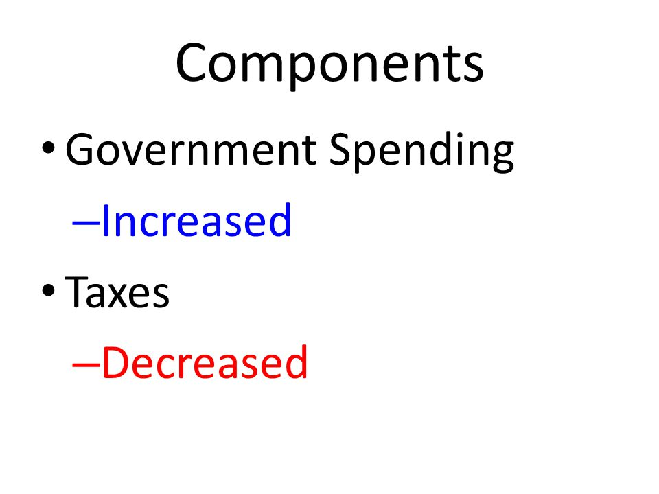 Components Government Spending – Increased Taxes – Decreased