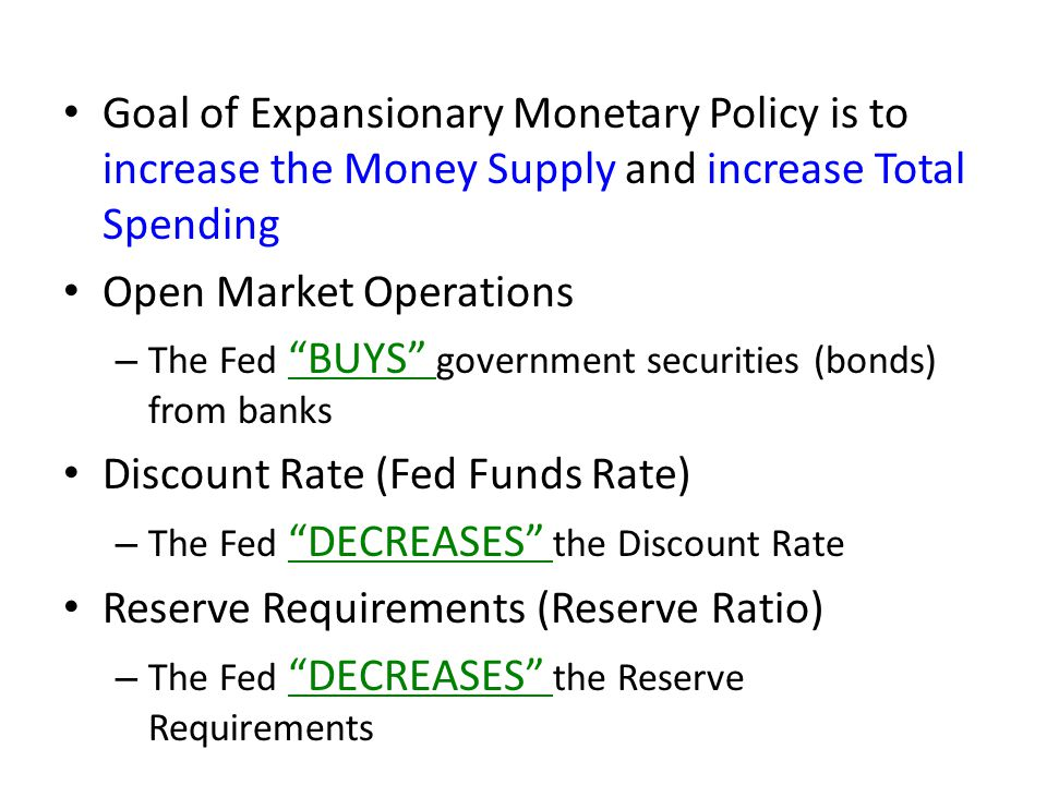 Goal of Expansionary Monetary Policy is to increase the Money Supply and increase Total Spending Open Market Operations – The Fed BUYS government securities (bonds) from banks Discount Rate (Fed Funds Rate) – The Fed DECREASES the Discount Rate Reserve Requirements (Reserve Ratio) – The Fed DECREASES the Reserve Requirements