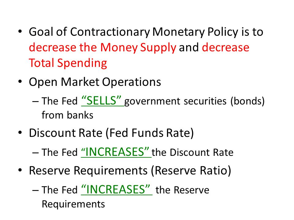 Goal of Contractionary Monetary Policy is to decrease the Money Supply and decrease Total Spending Open Market Operations – The Fed SELLS government securities (bonds) from banks Discount Rate (Fed Funds Rate) – The Fed INCREASES the Discount Rate Reserve Requirements (Reserve Ratio) – The Fed INCREASES the Reserve Requirements