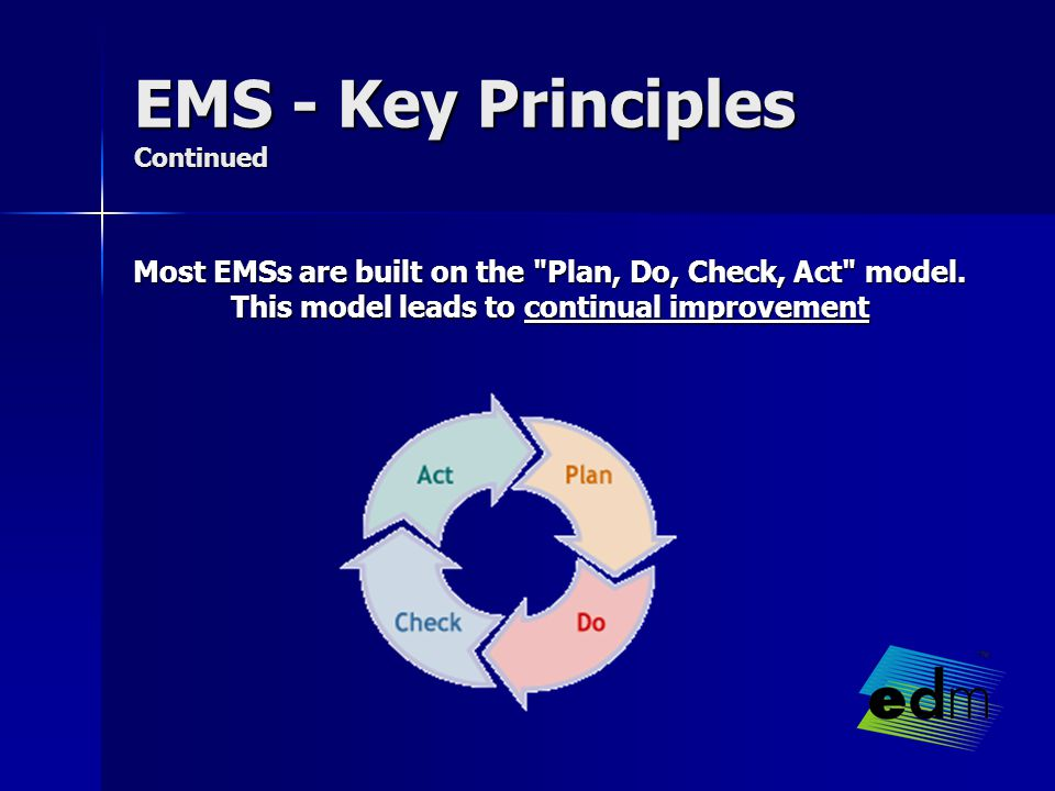 EMS - Key Principles Continued Most EMSs are built on the Plan, Do, Check, Act model.