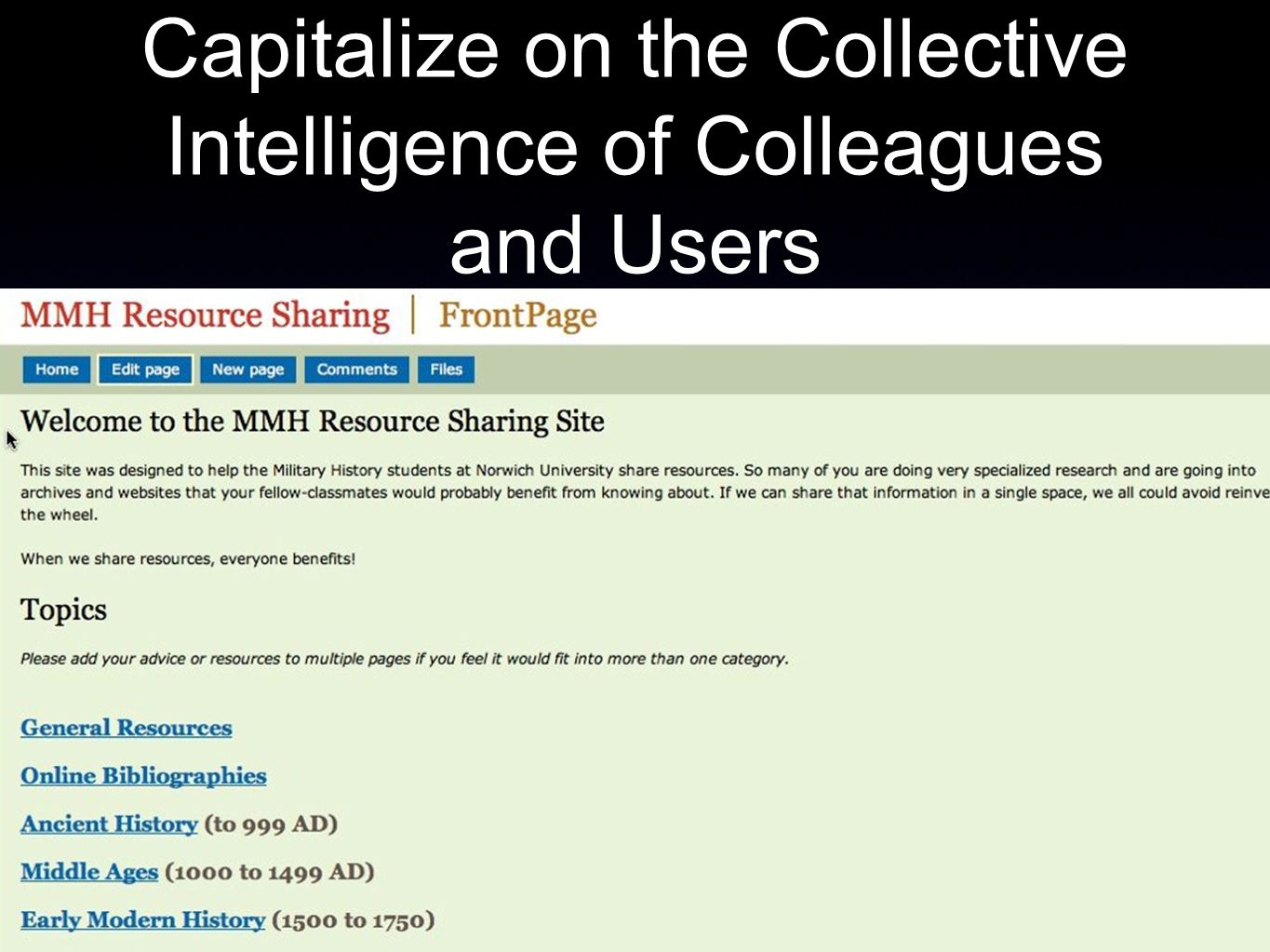 Capitalize on the Collective Intelligence of Colleagues and Users