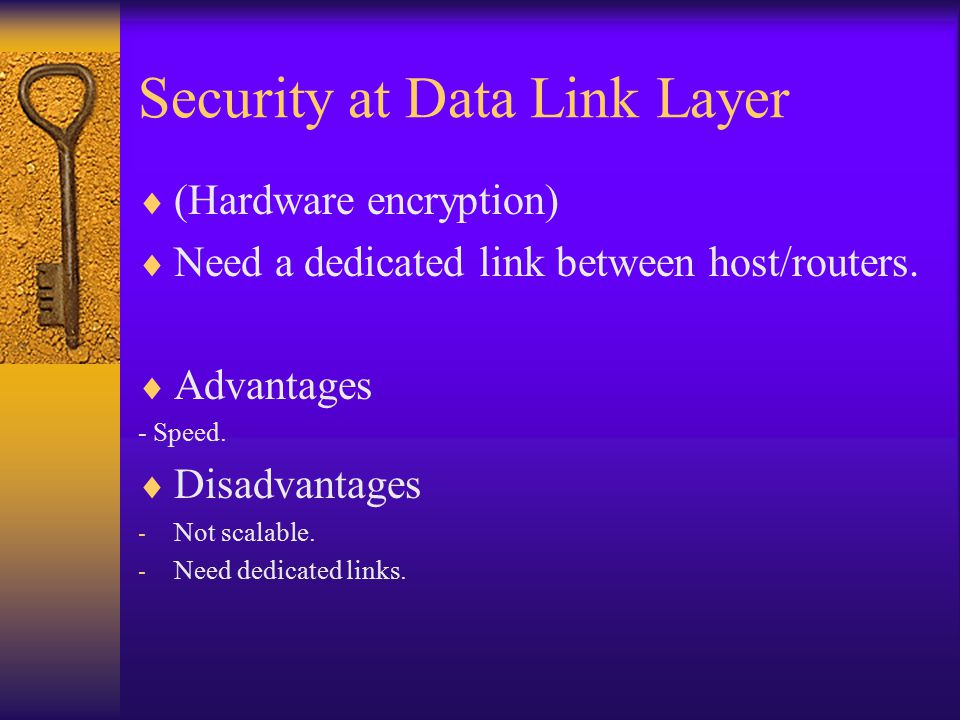 Security at Data Link Layer  (Hardware encryption)  Need a dedicated link between host/routers.