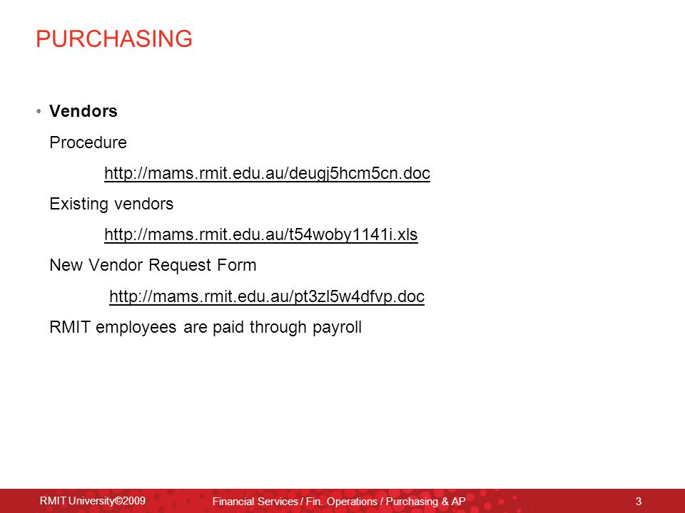 Purchasing Accounts Payable  Credit Cards Rmit University
