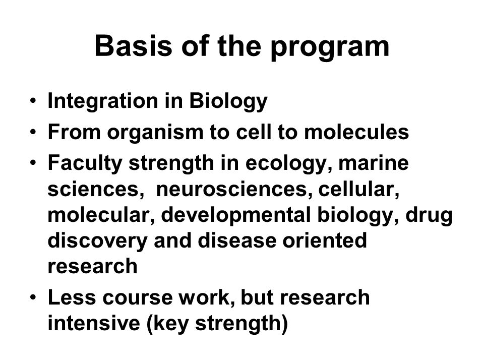 Basis of the program Integration in Biology From organism to cell to molecules Faculty strength in ecology, marine sciences, neurosciences, cellular, molecular, developmental biology, drug discovery and disease oriented research Less course work, but research intensive (key strength)