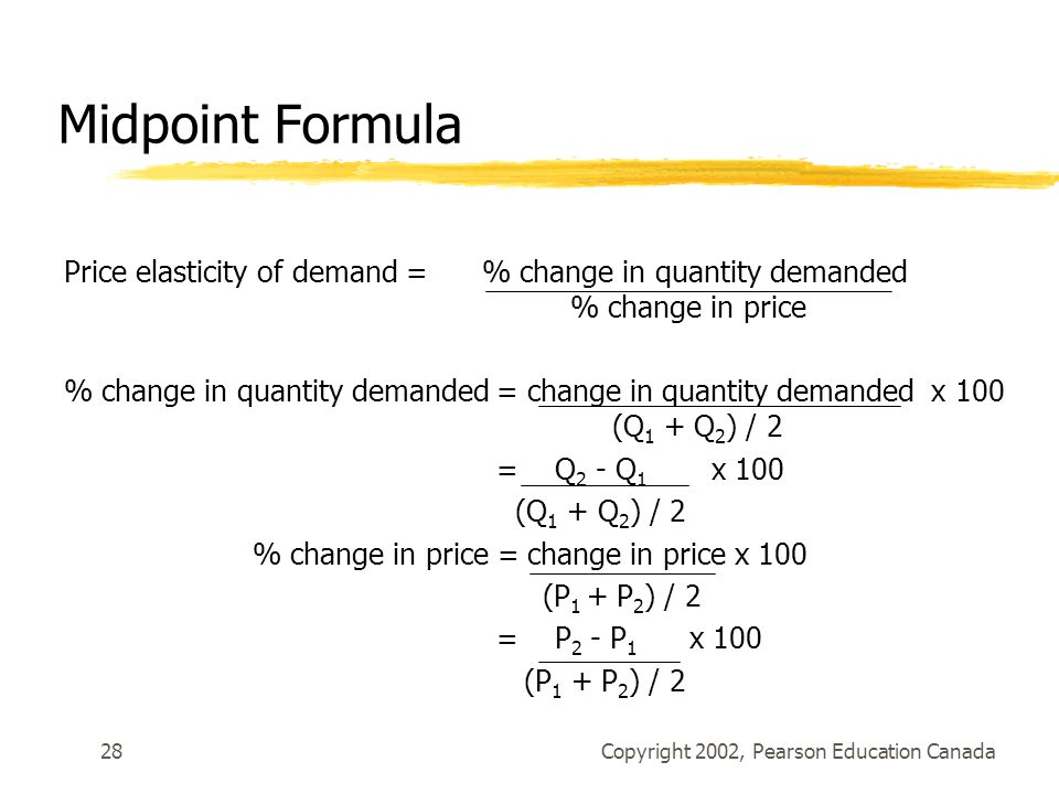 Elasticity of demand midpoint formula